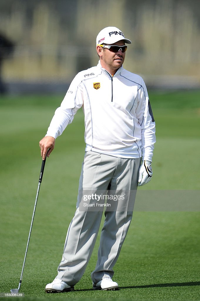 Louis Oosthuizen of South Africa looks on during the second round of the World Golf Championships - Accenture Match Play at the Golf Club at Dove Mountain on February 22, 2013 in Marana, Arizona.