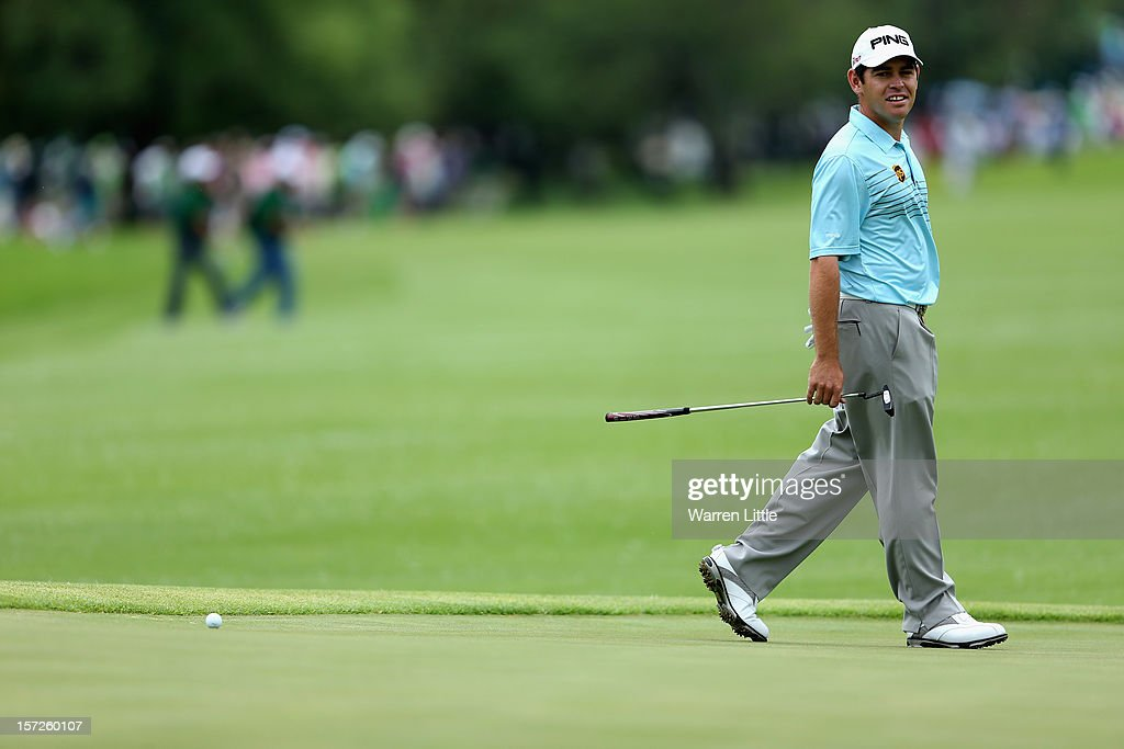 Louis Oosthuizen of South Africa looks on during the third round of the Nedbank Golf Challenge at the Gary Player Country Club on December 1, 2012 in Sun City, South Africa.