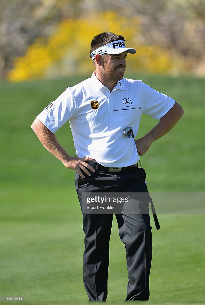 Louis Oosthuizen of South Africa looks on the 15th hole during the second round of the World Golf Championships - Accenture Match Play Championship at The Golf Club at Dove Mountain on February 20, 2014 in Marana, Arizona.