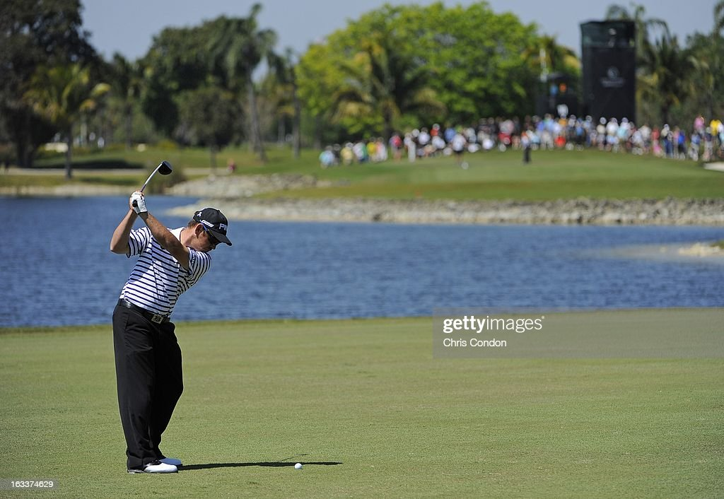 Louis Oosthuizen of South Africa on the 10th hole during the second round of the World Golf Championships-Cadillac Championship at TPC Blue Monster at Doral on March 8, 2013 in Doral, Florida.