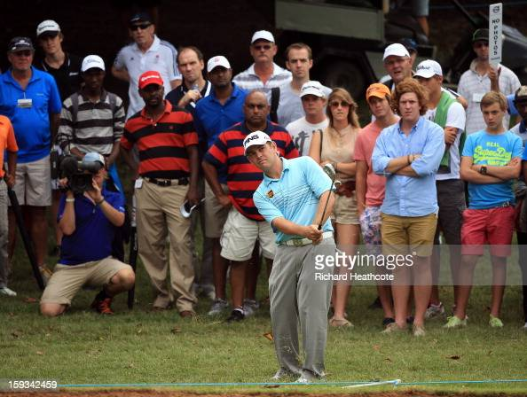 Louis Oosthuizen of South Africa pitches onto the 7th green during the third round of the Volvo Champions at Durban Country Club on January 12 2013...