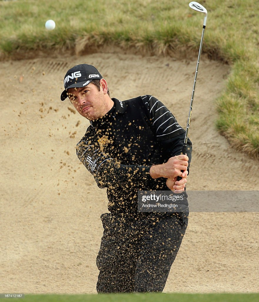 Louis Oosthuizen of South Africa plays a bunker shot on the tenth hole during the first round of the Ballantine's Championship at Blackstone Golf Club on April 25, 2013 in Icheon, South Korea.