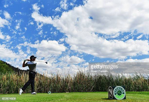 Louis Oosthuizen of South Africa plays a shot during the third round of The Nedbank Golf Challenge at Gary Player CC on November 12 2016 in Sun City...