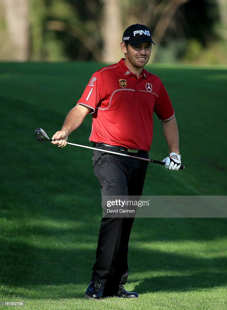 Louis Oosthuizen of South Africa plays his second shot at the par 5, 18th hole during the completion of his first round on day two of the 2013 Turkish Airlines Open on the Montgomerie Maxx Royal Course on November 8, 2013 in Antalya, Turkey.