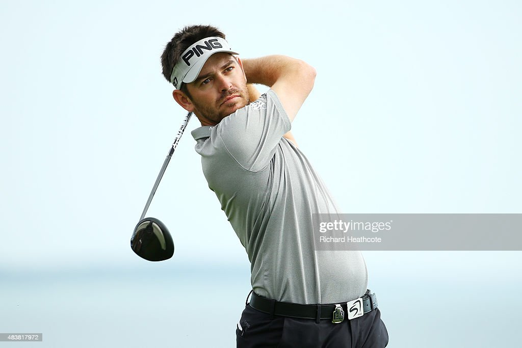 <a gi-track='captionPersonalityLinkClicked' href=/galleries/search?phrase=Louis+Oosthuizen&family=editorial&specificpeople=241573 ng-click='$event.stopPropagation()'>Louis Oosthuizen</a> of South Africa plays his shot from the 16th tee during the first round of the 2015 PGA Championship at Whistling Straits on August 13, 2015 in Sheboygan, Wisconsin.