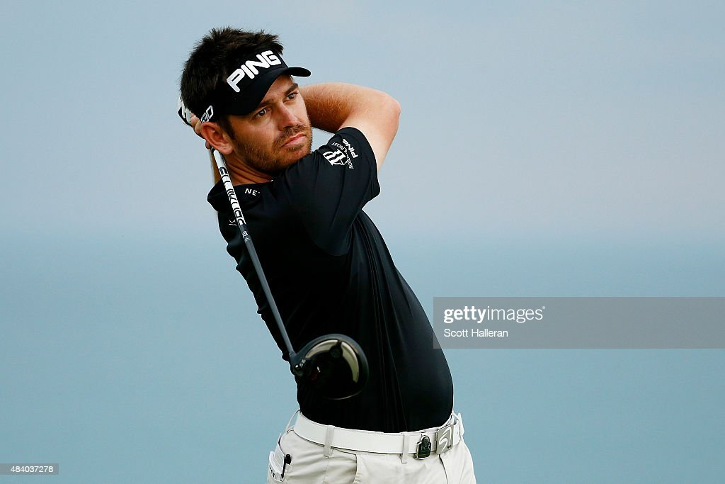 <a gi-track='captionPersonalityLinkClicked' href=/galleries/search?phrase=Louis+Oosthuizen&family=editorial&specificpeople=241573 ng-click='$event.stopPropagation()'>Louis Oosthuizen</a> of South Africa plays his shot from the 16th tee during the second round of the 2015 PGA Championship at Whistling Straits on August 14, 2015 in Sheboygan, Wisconsin.