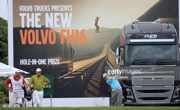 Louis Oosthuizen of South Africa plays his tee shot at the par 4 18th hole during the first round of the 2014 Volvo Golf Champions at Durban Country...