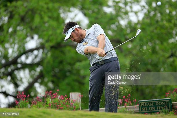 Louis Oosthuizen of South Africa plays his tee shot on the 11th hole during the round of 16 in the World Golf ChampionshipsDell Match Play at the...