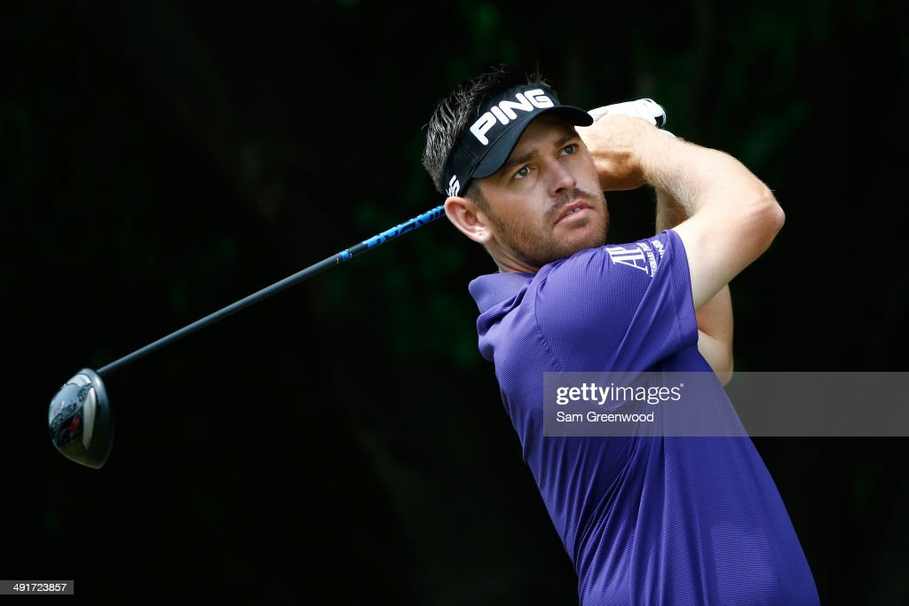 Louis Oosthuizen of South Africa plays his tee shot on the first hole during the third round of the HP Byron Nelson Championship at the TPC Four Seasons on May 17, 2014 in Irving, Texas.