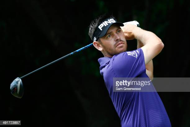 Louis Oosthuizen of South Africa plays his tee shot on the first hole during the third round of the HP Byron Nelson Championship at the TPC Four...