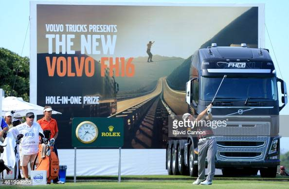 Louis Oosthuizen of South Africa plays his tee shot on the par 4 18th hole during the final round of the 2014 Volvo Golf Champions at Durban Country...