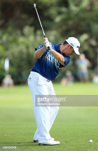 Louis Oosthuizen of South Africa plays into the 17th green during the final round of the Volvo Champions at Durban Country Club on January 13 2013 in...