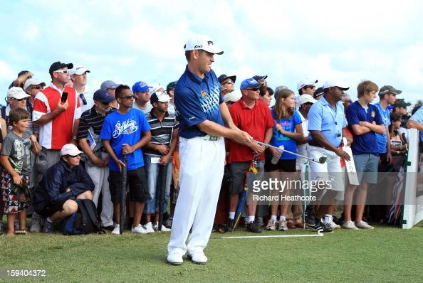 Louis Oosthuizen of South Africa plays into the 18th green during the final round of the Volvo Champions at Durban Country Club on January 13 2013 in...