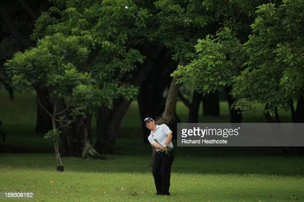 Louis Oosthuizen of South Africa plays into the 6th green during the second round of the Volvo Champions at Durban Country Club on January 11 2013 in...