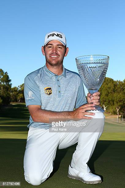 Louis Oosthuizen of South Africa poses with the trophy after winning the 2016 Perth International at Karrinyup GC on February 28 2016 in Perth...