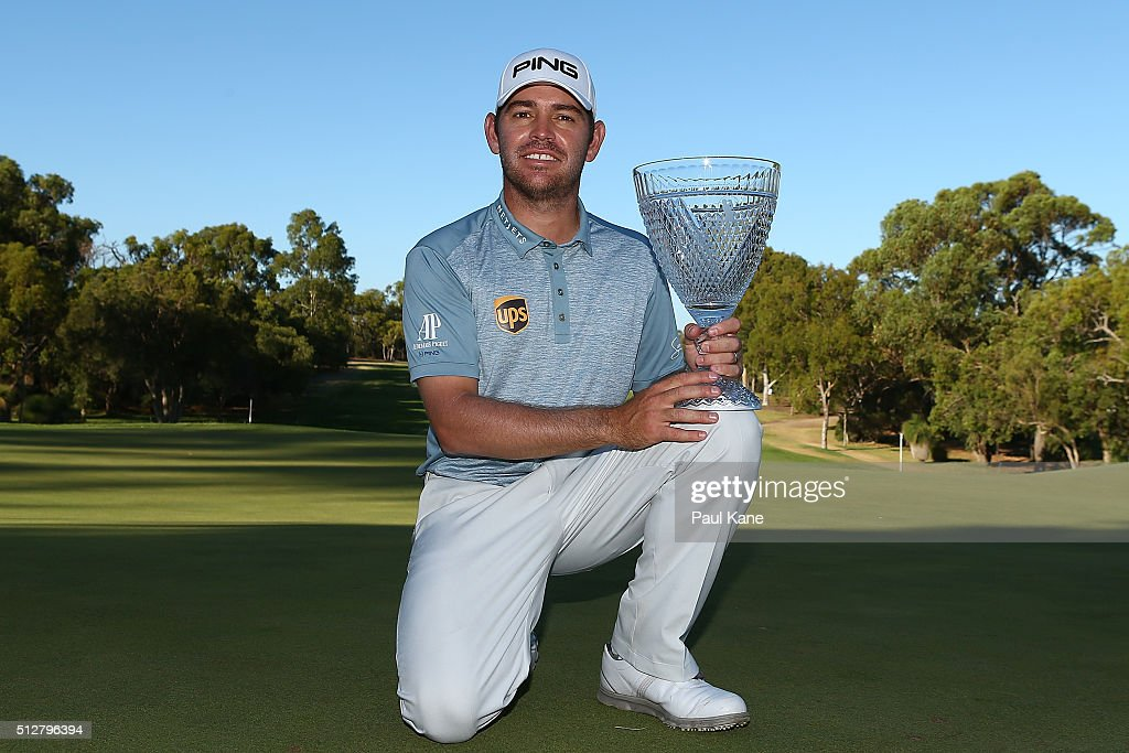 <a gi-track='captionPersonalityLinkClicked' href=/galleries/search?phrase=Louis+Oosthuizen&family=editorial&specificpeople=241573 ng-click='$event.stopPropagation()'>Louis Oosthuizen</a> of South Africa poses with the trophy after winning the 2016 Perth International at Karrinyup GC on February 28, 2016 in Perth, Australia.