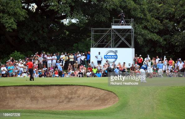 Louis Oosthuizen of South Africa putts on the 12th green during the final round of the Volvo Champions at Durban Country Club on January 13 2013 in...