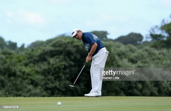 Louis Oosthuizen of South Africa putts on the 13th green during the final round of the Volvo Golf Champions at Durban Country Club on January 13 2013...