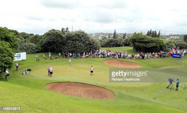 Louis Oosthuizen of South Africa putts on the 4th green during the third round of the Volvo Champions at Durban Country Club on January 12 2013 in...