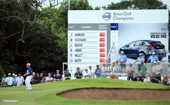 Louis Oosthuizen of South Africa putts on the 9th green during the final round of the Volvo Champions at Durban Country Club on January 13 2013 in...