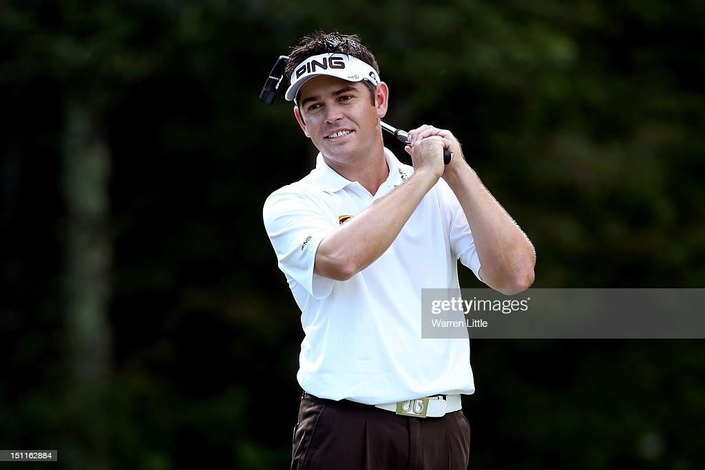 Louis Oosthuizen of South Africa reacts after a par putt on the 12th hole during the third round of the Deutsche Bank Championship at TPC Boston on September 2, 2012 in Norton, Massachusetts.