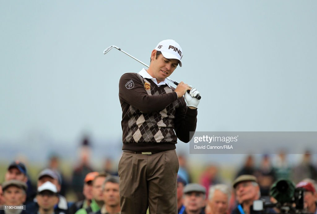 Louis Oosthuizen of South Africa reacts during the first round of The 140th Open Championship at Royal St George's on July 14, 2011 in Sandwich, England.