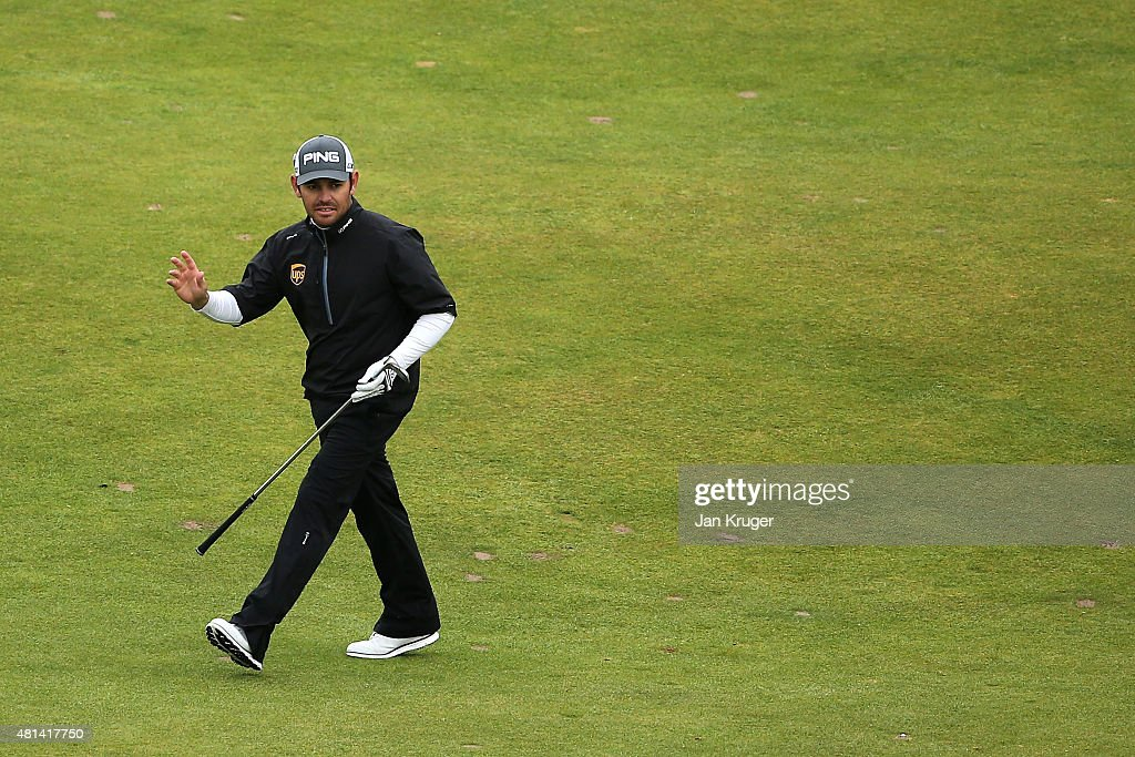 Louis Oosthuizen of South Africa reacts to a shot on the 18th hole during the final round of the 144th Open Championship at The Old Course on July 20, 2015 in St Andrews, Scotland.