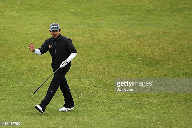 Louis Oosthuizen of South Africa reacts to a shot on the 18th hole during the final round of the 144th Open Championship at The Old Course on July 20...