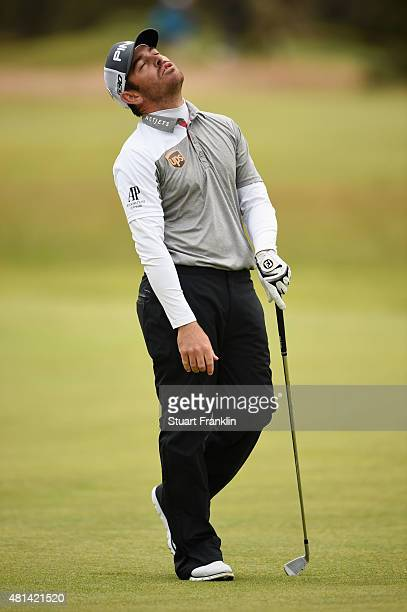 Louis Oosthuizen of South Africa reacts to his approach shot on the 17th hole in the playoff during the final round of the 144th Open Championship at...