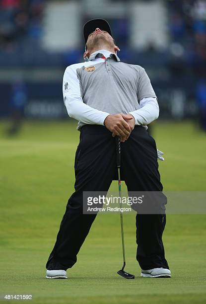 Louis Oosthuizen of South Africa reacts to his missed par putt on the 17th hole in the playoff during the final round of the 144th Open Championship...
