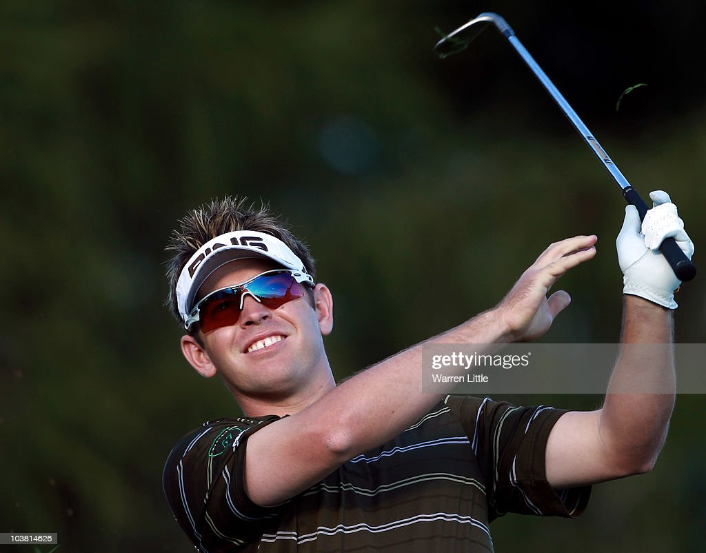 Louis Oosthuizen of South Africa reacts to his second shot on the 17th hole during the second round of The Omega European Masters at Crans-Sur-Sierre Golf Club on September 3, 2010 in Crans Montana, Switzerland.