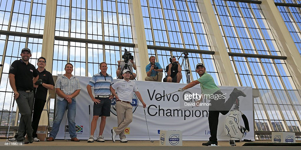 Louis Oosthuizen of South Africa reacts to his shot which just missed the target during The Volvo Golf Champions Moses Mabhida Stadium Challenge as a preview for the 2014 Volvo Golf Champions tournament at Durban Country Club on January 7, 2014 in Durban, South Africa.
