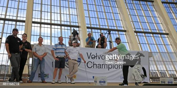Louis Oosthuizen of South Africa reacts to his shot which just missed the target during The Volvo Golf Champions Moses Mabhida Stadium Challenge as a...