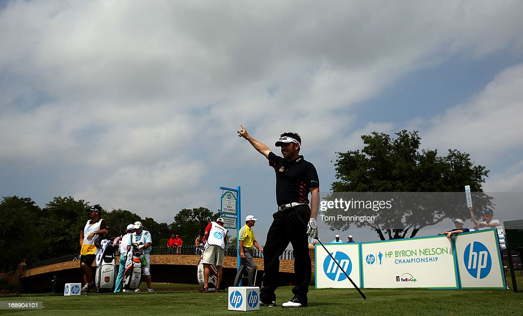 Louis Oosthuizen of South Africa rescts to a tee shot during the first round of the 2013 HP Byron Nelson Championship at the TPC Four Seasons Resort on May 16, 2013 in Irving, Texas.