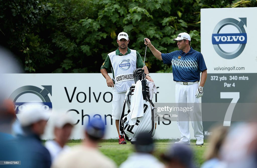 Louis Oosthuizen of South Africa selects his club on the on the seventh hole during the final round of the Volvo Golf Champions at Durban Country Club on January 13, 2013 in Durban, South Africa.