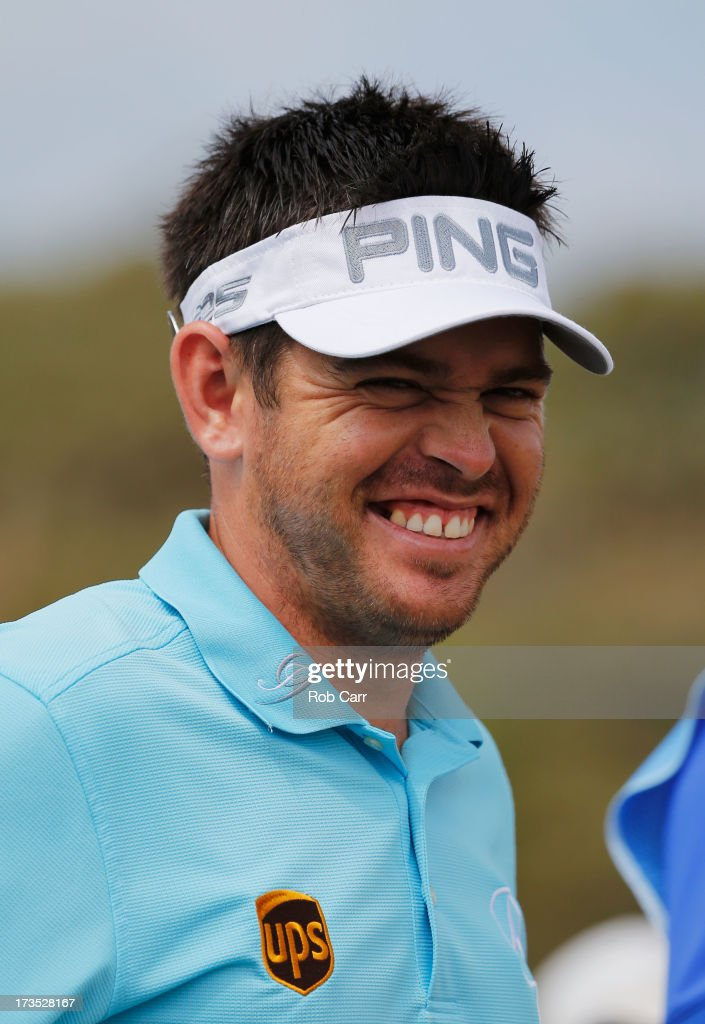 Louis Oosthuizen of South Africa smiles ahead of the 142nd Open Championship at Muirfield on July 16, 2013 in Gullane, Scotland.