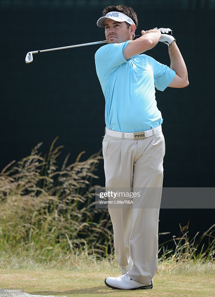 Louis Oosthuizen of South Africa tees off ahead of the 142nd Open Championship at Muirfield on July 16, 2013 in Gullane, Scotland.