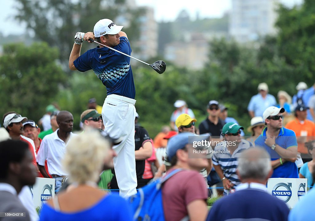 Louis Oosthuizen of South Africa tee's off at the 10th during the final round of the Volvo Champions at Durban Country Club on January 13, 2013 in Durban, South Africa.