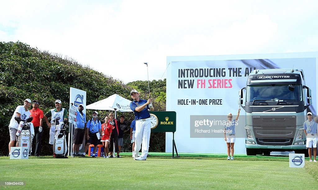Louis Oosthuizen of South Africa tee's off at the 18th during the final round of the Volvo Champions at Durban Country Club on January 13, 2013 in Durban, South Africa.