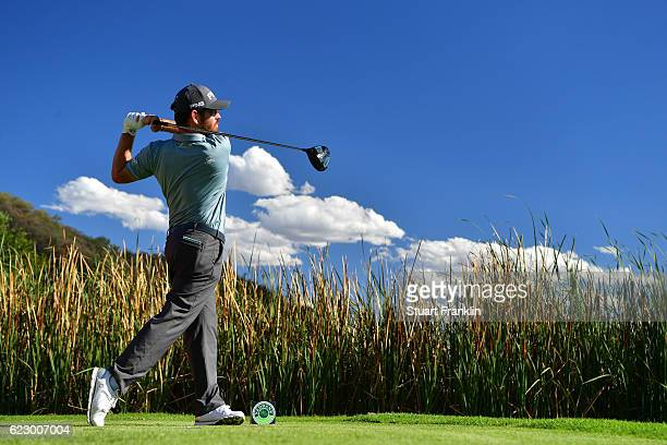 Louis Oosthuizen of South Africa tees off during day four of the Nedbank Golf Challenge at Gary Player CC on November 13 2016 in Sun City South Africa
