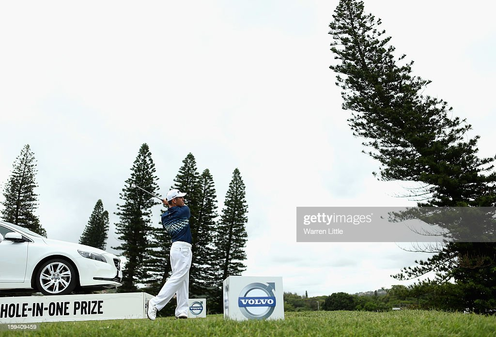 Louis Oosthuizen of South Africa tees off on the 12th hole during the final round of the Volvo Golf Champions at Durban Country Club on January 13, 2013 in Durban, South Africa.