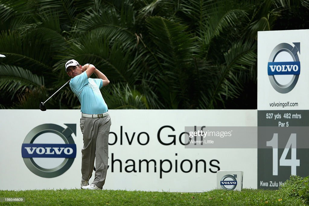 <a gi-track='captionPersonalityLinkClicked' href=/galleries/search?phrase=Louis+Oosthuizen&family=editorial&specificpeople=241573 ng-click='$event.stopPropagation()'>Louis Oosthuizen</a> of South Africa tees off on the 14th hole during the third round of the Volvo Golf Champions at Durban Country Club on January 12, 2013 in Durban, South Africa.
