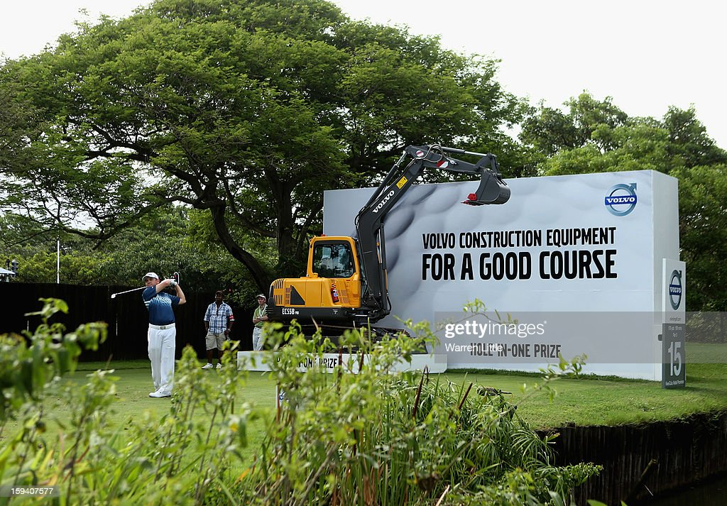 Louis Oosthuizen of South Africa tees off on the 15th hole during the final round of the Volvo Golf Champions at Durban Country Club on January 13, 2013 in Durban, South Africa.