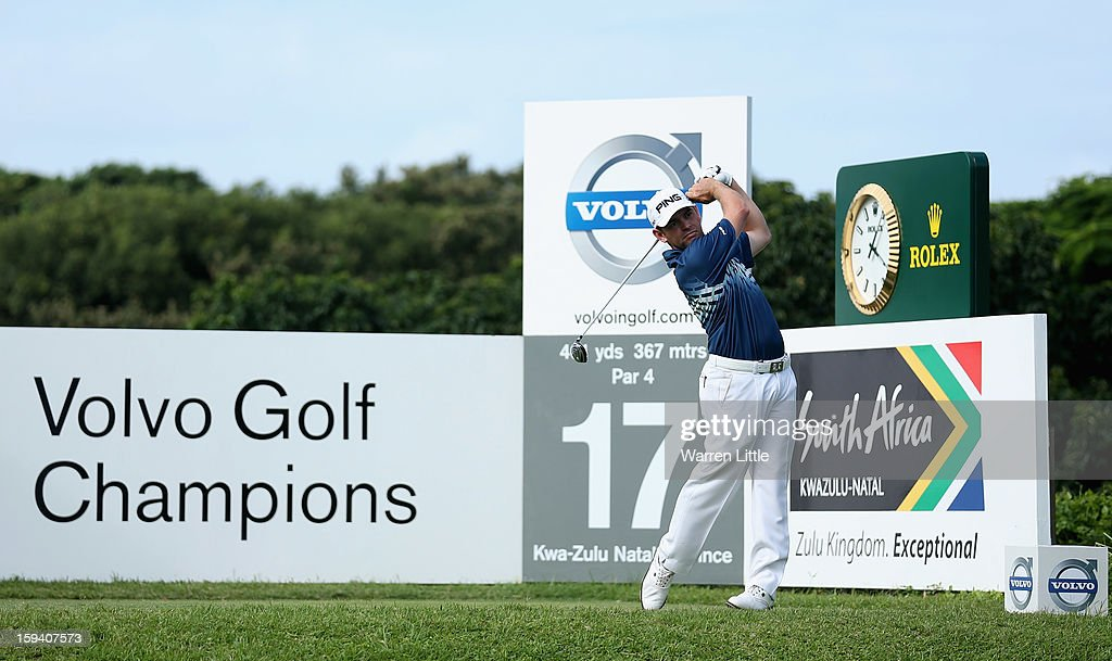 Louis Oosthuizen of South Africa tees off on the 17th hole during the final round of the Volvo Golf Champions at Durban Country Club on January 13, 2013 in Durban, South Africa.