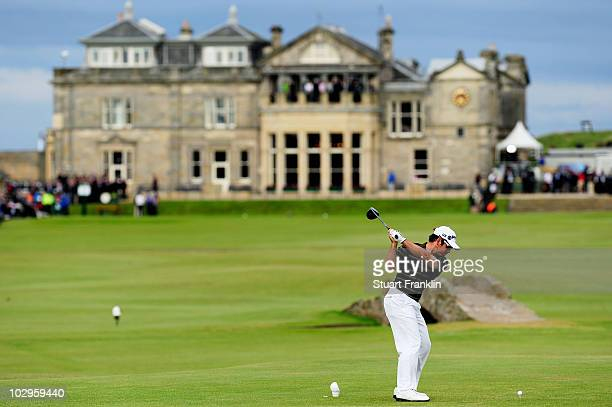 Louis Oosthuizen of South Africa tees off on the 18th hole during the final round of the 139th Open Championship on the Old Course St Andrews on July...