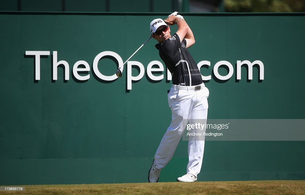 Louis Oosthuizen of South Africa tees off on the 1st hole during the first round of the 142nd Open Championship at Muirfield on July 18, 2013 in Gullane, Scotland.
