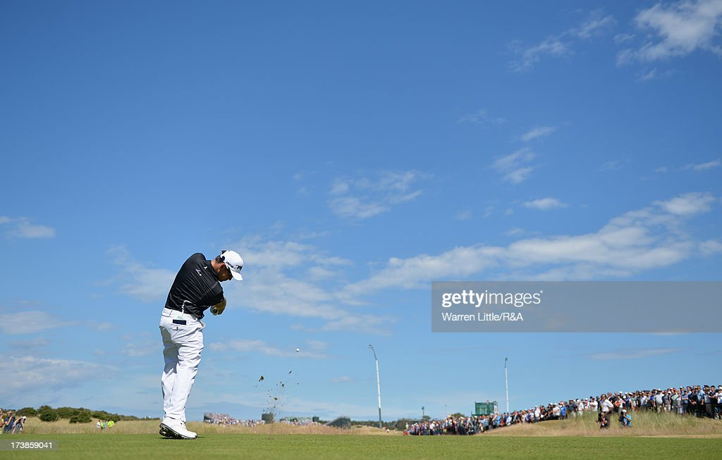 Louis Oosthuizen of South Africa tees off on the 3rd hole during the first round of the 142nd Open Championship at Muirfield on July 18, 2013 in Gullane, Scotland.