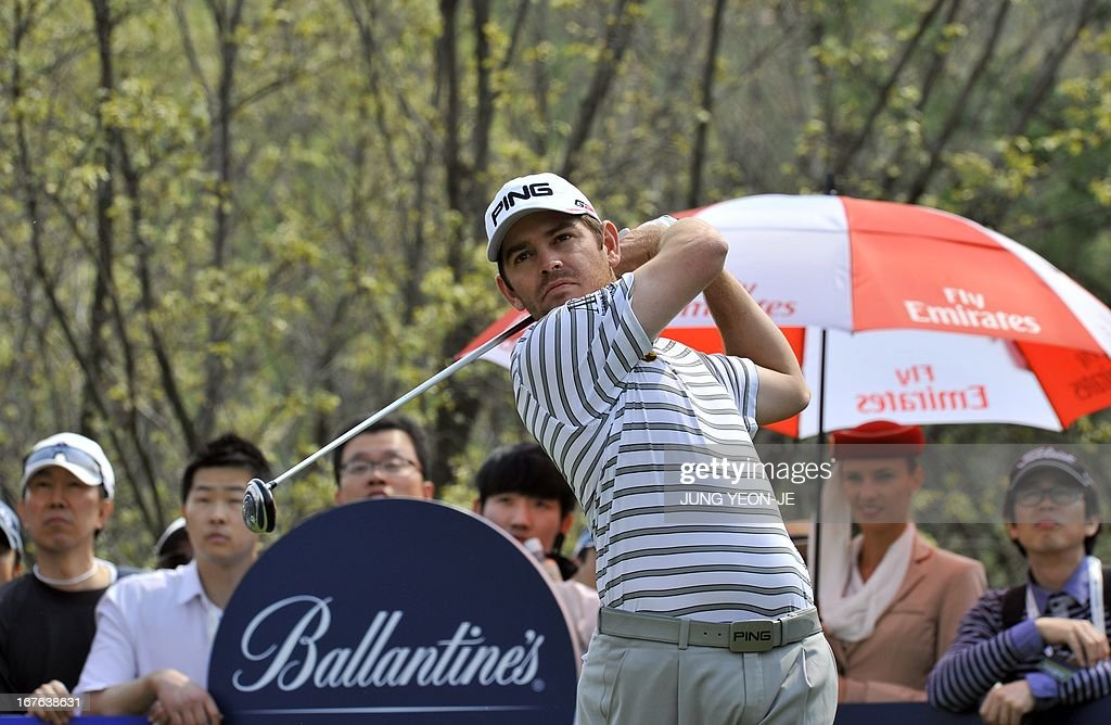 Louis Oosthuizen of South Africa tees off on the 6th hole during the third round of the Ballantine's Championship at Blackstone Golf Club in Icheon, 70 kms southeast of Seoul, on April 27, 2013.