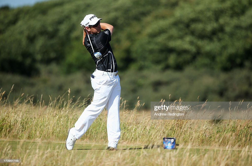 Louis Oosthuizen of South Africa tees off on the 6th hole during the first round of the 142nd Open Championship at Muirfield on July 18, 2013 in Gullane, Scotland.