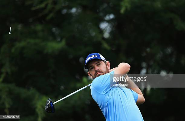 Louis Oosthuizen of South Africa tees off on the 9th hole during day two of the Alfred Dunhill Championship at Leopard Creek Country Golf Club on...